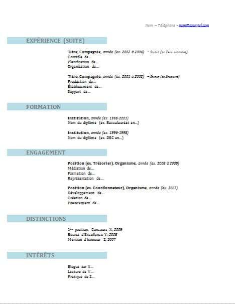 modele cv gratuit 2012