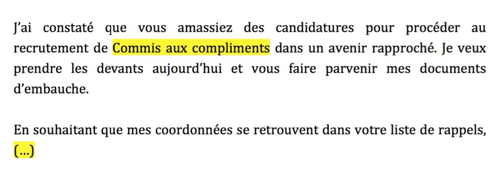 Exemple #2 - Candidature spontanée