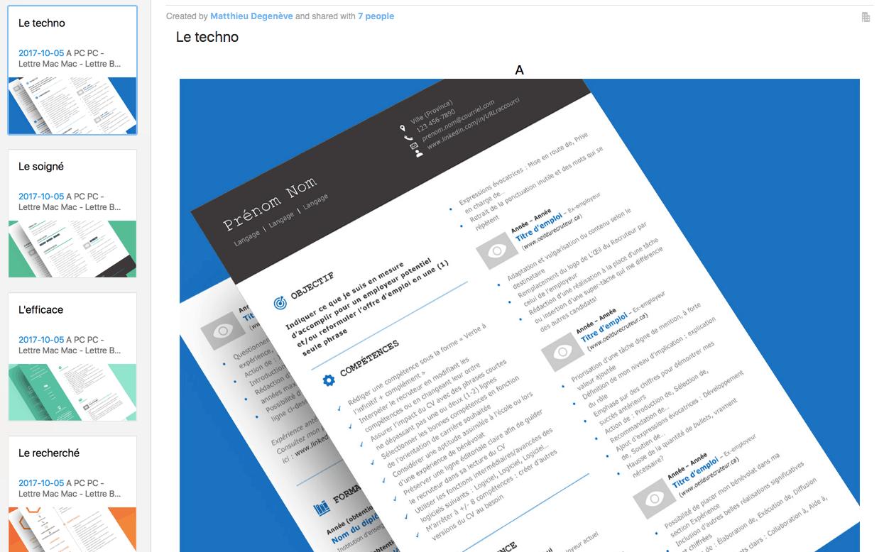 Capture Evernote - Modèles de CV premiums offerts gratuitement!