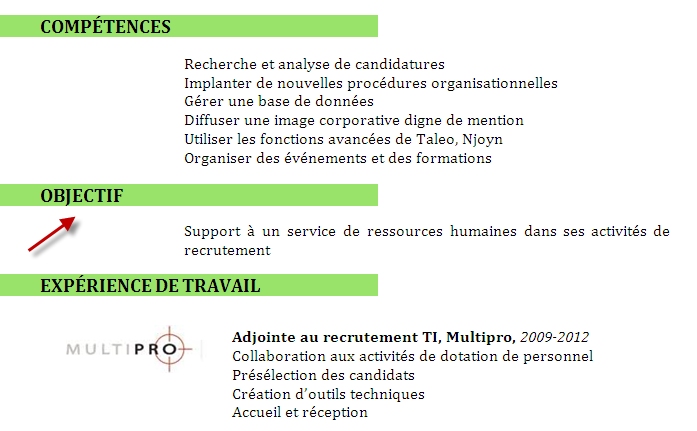 exemple objectifs professionnels