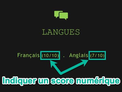 Indiquer un score numérique pour les langues du CV