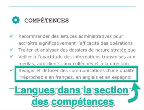 Langues dans la section des compétences du CV