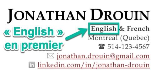 « English » apparaît en premier sur un CV en anglais