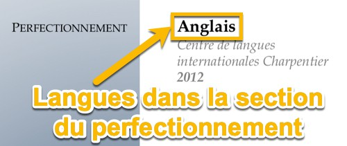 Langues dans la section du perfectionnement du CV
