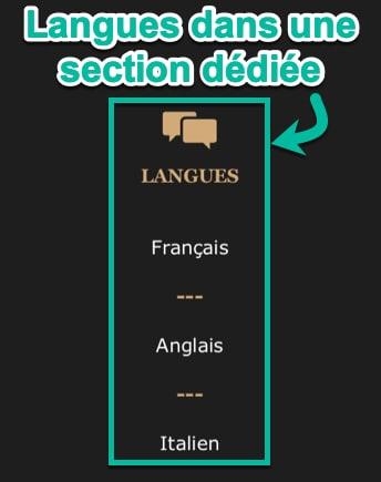 Langues dans une section dédiée du CV