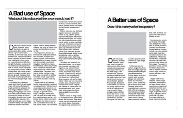 À gauche, un mauvais usage de l'espace. À droite, un bon usage de l'espace. (crédit : dgtlnk.com)