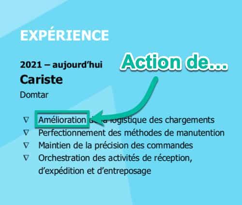 L'action de dans les sections « Expérience » et « Engagement »