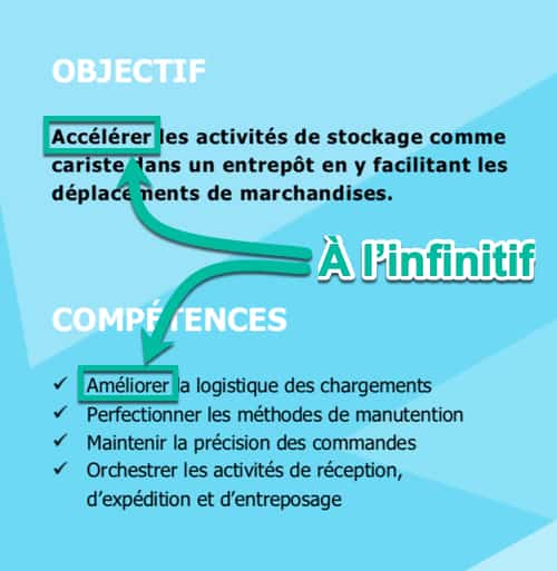 Verbes à l'infinitif dans les sections « Objectif » et « Compétences »