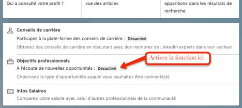 L'option « À l'écoute de nouvelles opportunités » sur LinkedIn