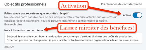 La note à l'intention des recruteurs