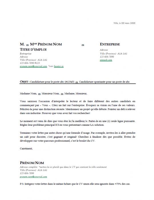 Modèle gratuit de lettre de présentation - Vert