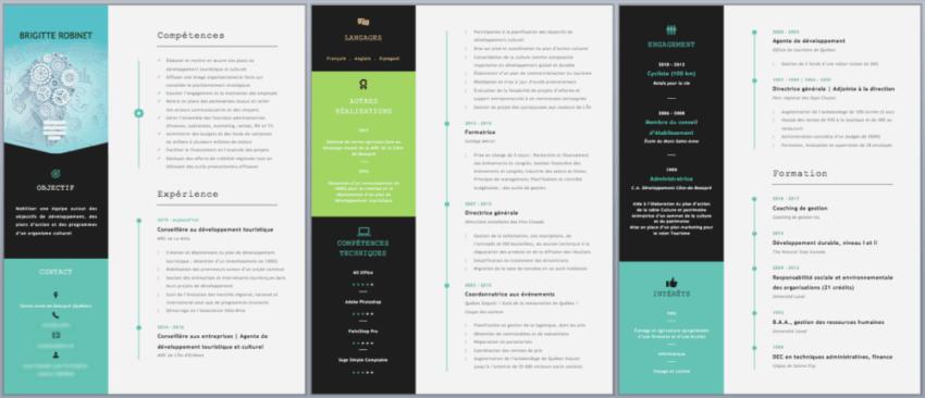 Capture d'écran Microsoft Word - CV de Brigitte (après)
