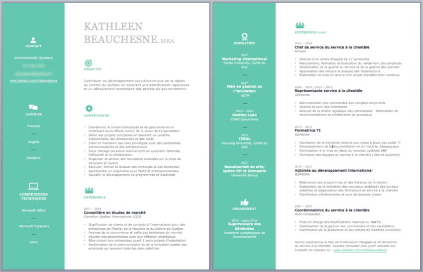 Capture d'écran Microsoft Word - CV de Kathleen (après)