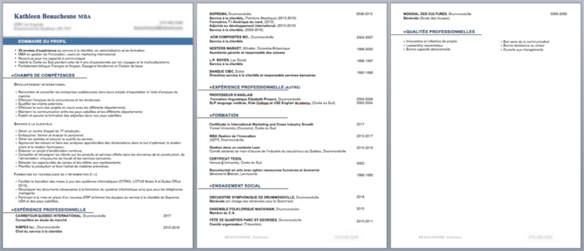 Capture d'écran Microsoft Word - CV de Kathleen (avant)