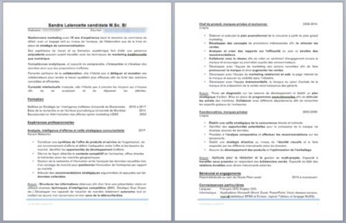 Capture d'écran Microsoft Word - CV de Sandra (avant)