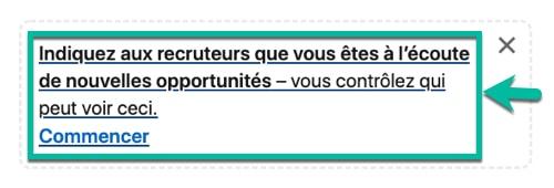 Étape #1 pour activer l'option « À l'écoute de nouvelles opportunités » sur LinkedIn