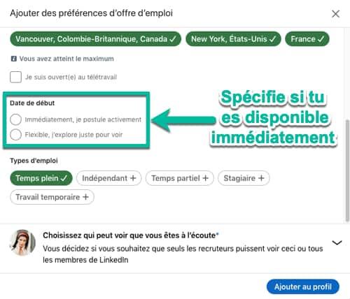 Étape #3 pour activer l'option « À l'écoute de nouvelles opportunités » sur LinkedIn