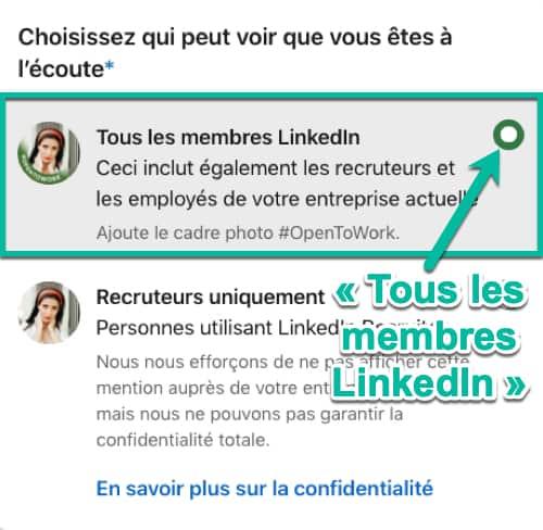Recherche d'emploi visible par TOUS les membres LinkedIn