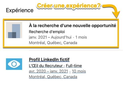 Faut-il indiquer sa recherche d'emploi dans l'expérience sur LinkedIn?