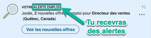 Tu recevras des alertes emploi de LinkedIn dans tes notifications