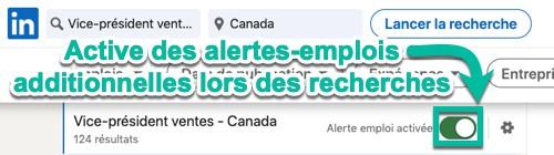 Ajoute des alertes-emplois manuellement lors de chaque recherche sur LinkedIn