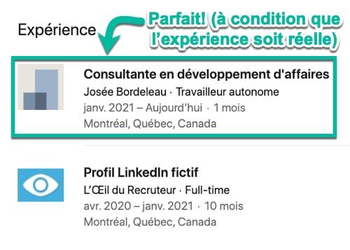 Assure-toi ton poste actuel dans LinkedIn soit réel et significatif