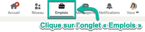Clique sur l'onglet « Emplois » pour voir des postes disponibles