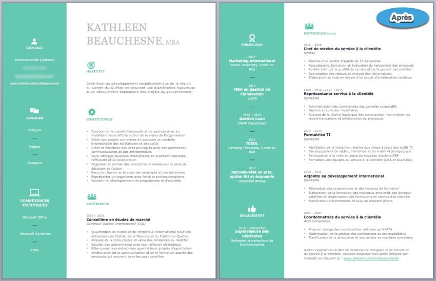 CV de Kathleen après la révision