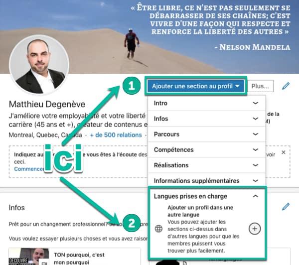 Ajouter son profil LinkedIn dans une autre langue