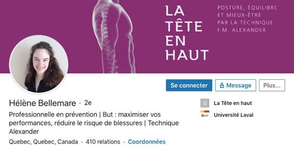 Profil LinkedIn d'Hélène Bellemare