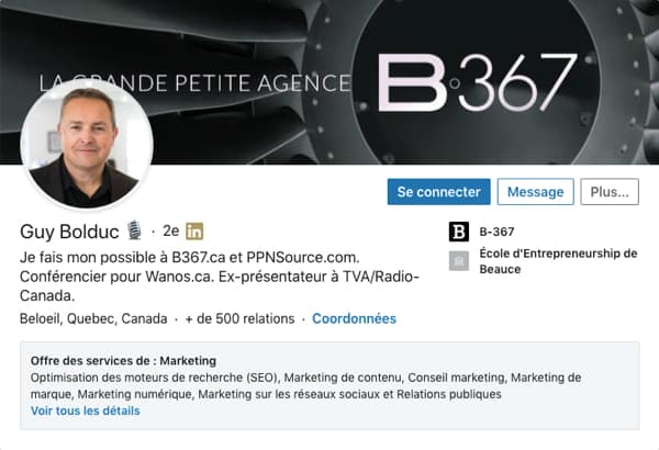 Profil LinkedIn de Guy Bolduc