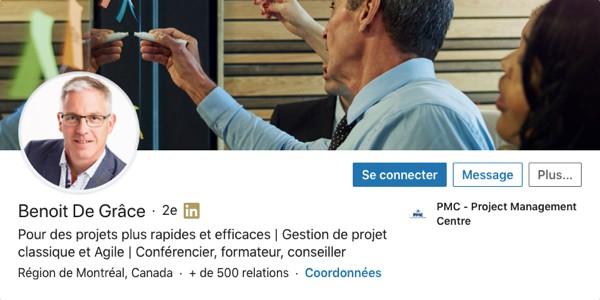 Profil LinkedIn de Benoit De Grâce