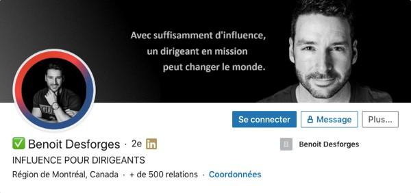 Profil LinkedIn de Benoit Desforges