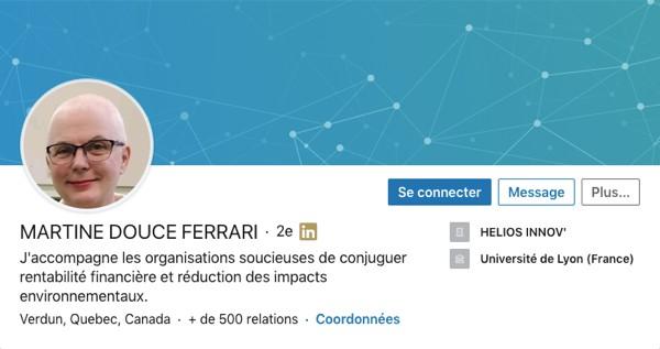 Profil LinkedIn de Martine Douce Ferrari