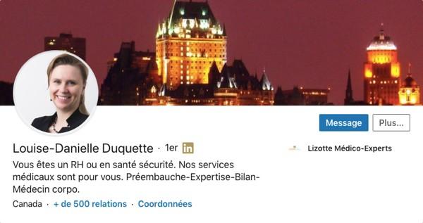 Profil LinkedIn de Louise-Danielle Duquette