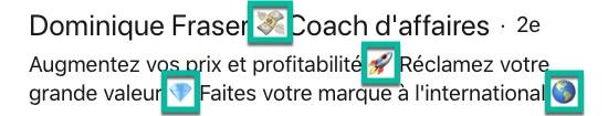 Exemple d'emojis dans le titre LinkedIn