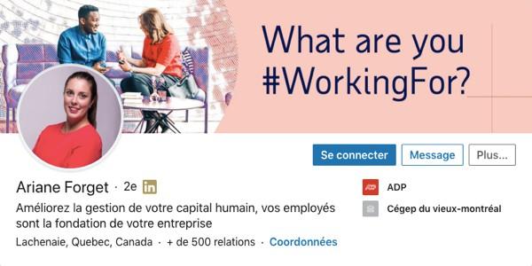 Profil LinkedIn d'Ariane Forget