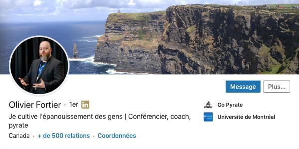 Profil LinkedIn d'Olivier Fortier