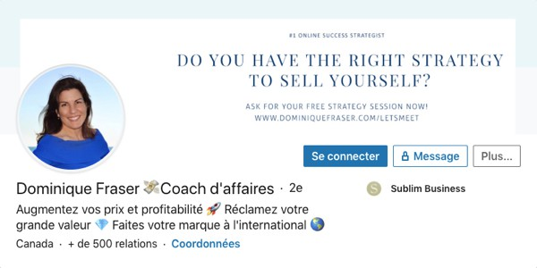Profil LinkedIn de Dominique Fraser
