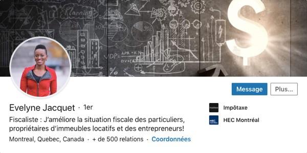 Profil LinkedIn d'Evelyne Jacquet