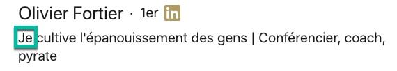 Exemple de « Je » dans le titre LinkedIn