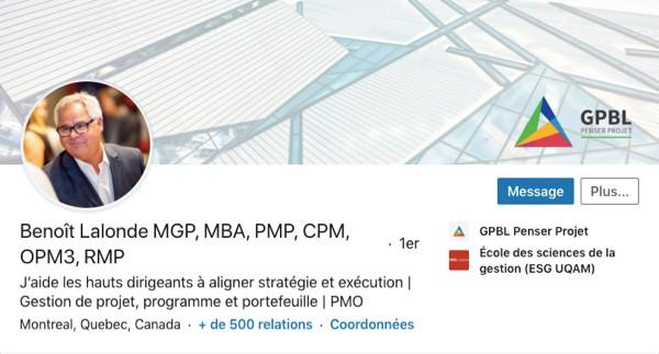 Profil LinkedIn de Benoît Lalonde