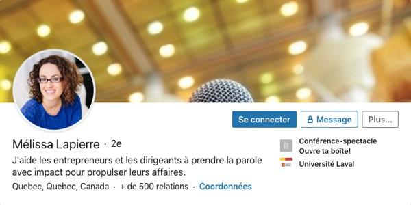 Profil LinkedIn de Mélissa Lapierre