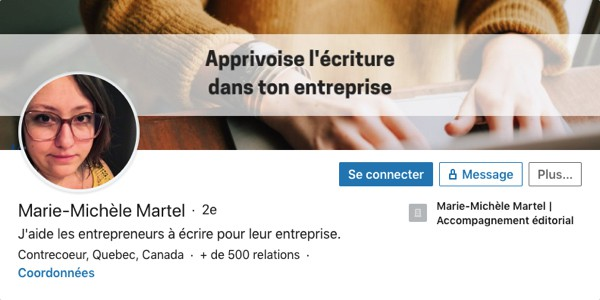 Profil LinkedIn de Marie-Michèle Martel