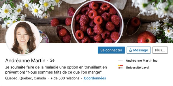 Profil LinkedIn d'Andréanne Martin
