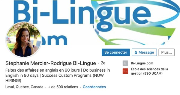Profil LinkedIn de Stephanie Mercier-Rodrigue