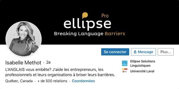 Profil LinkedIn d'Isabelle Methot