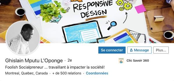 Profil LinkedIn de Ghislain Mputu L'Oponge