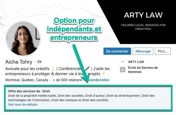 Option « À l'écoute de nouvelles opportunités » pour les indépendants et entrepreneurs (offre de services)