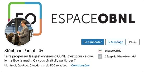 Profil LinkedIn de Stéphane Parent